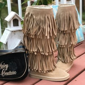 NWOT JUICY COUTURE SUEDE LEATHER FRINGE BOOTS 5